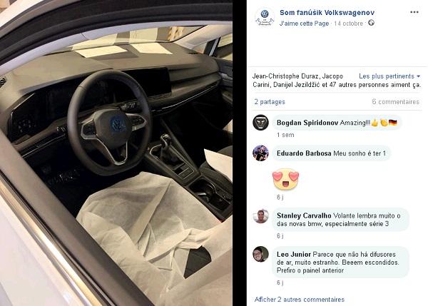 Volkswagen Golf 8 spyshot intérieur